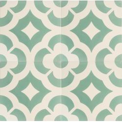 carreaux de ciment vert et blanc vintage