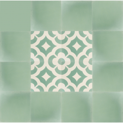tapis carreaux de ciment vert et blanc motif