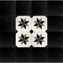 Tapis vintage carreaux de ciment noir et blanc etoile